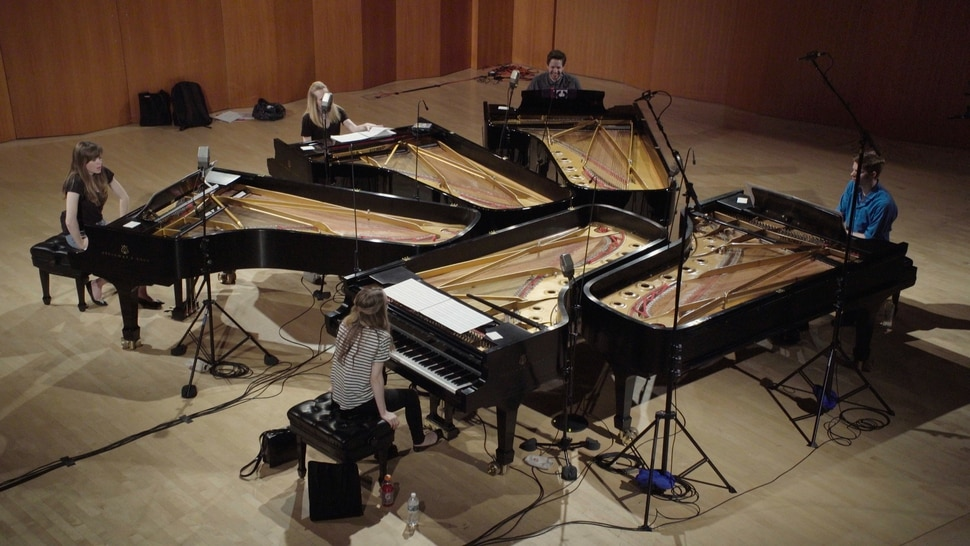 (courtesy Plow Productions) The members of the Utah-raised piano group The 5 Browns rehearse and record onstage at Drew University in New Jersey, in a moment from the documentary The 5 Browns: Digging Through the Darkness, which will screen in Salt Lake City on June 6 and 7.