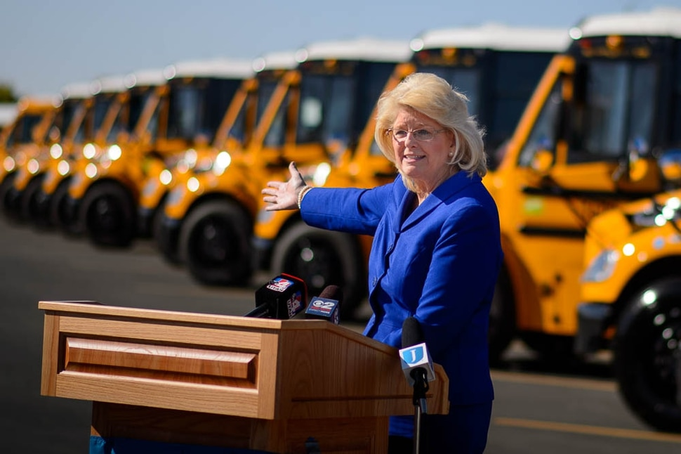 (Trent Nelson | The Salt Lake Tribune) Dr. Patrice Johnson speaks at a news conference introducing thirty-six new CNG school buses have been added to the Jordan School District fleet this year, bringing the total to 105, the largest fleet of CNG school buses in Utah. Wednesday Sept. 12, 2018.