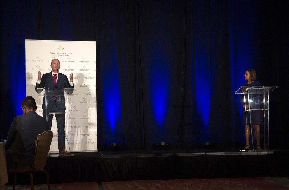 (Rick Egan | The Salt Lake Tribune) Gubernatorial candidate Spencer Cox speaks at the Utah Foundation Anniversary Luncheon, moderated by Nadine Wimmer, at the Grand America Hotel on Thursday, Sept. 17, 2020.