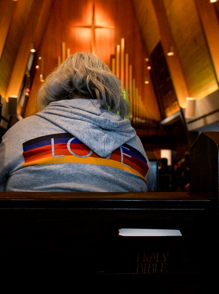 Leah Hogsten | The Salt Lake Tribune Barbara Jolley, member of Christ United Methodist Church wore a rainbow sweatshirt during Sunday services, March 3, 2019 in a show of solidarity for its LGBTQ members. Last week in St. Louis, international delegates for the UMC voted to continue the faith's ban on same-sex weddings and ordination of LGBTQ clergy. Many pastors and congregations in Utah and the U.S. were disappointed by the vote, which could ultimately cause a split in the ranks.