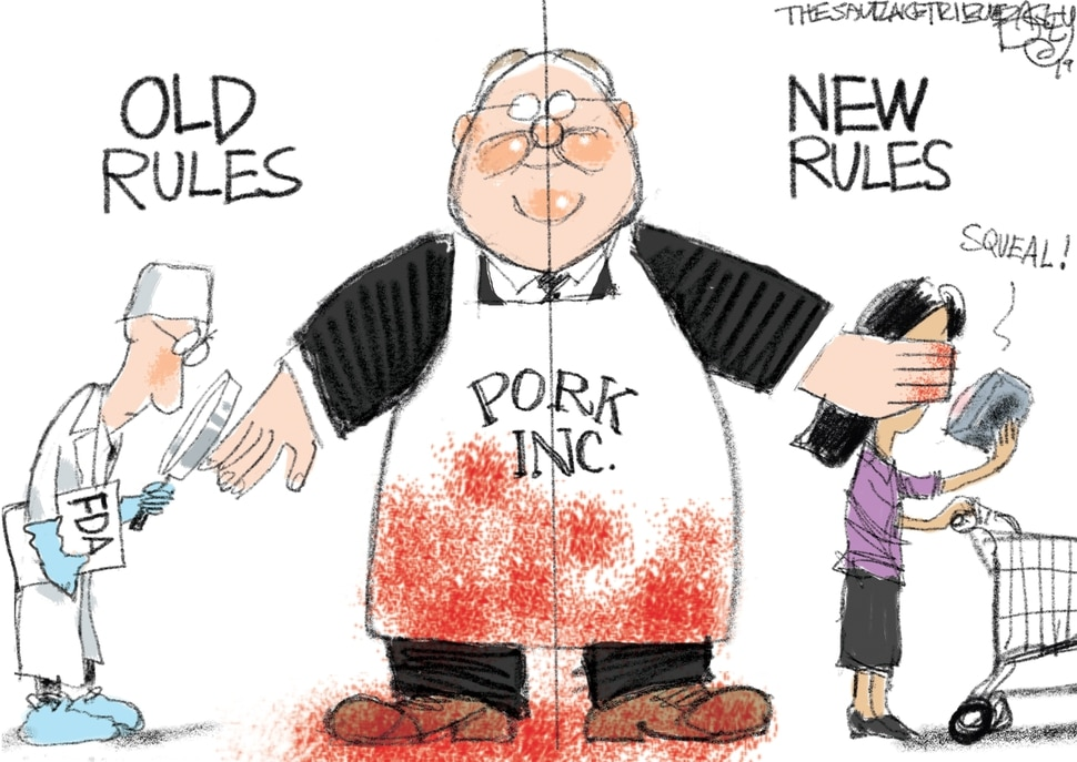 (Pat Bagley | The Salt Lake Tribune) This cartoon by Pat Bagley titled Hog Heaven appeared in The Salt Lake Tribune on Sunday, April 14, 2019.
