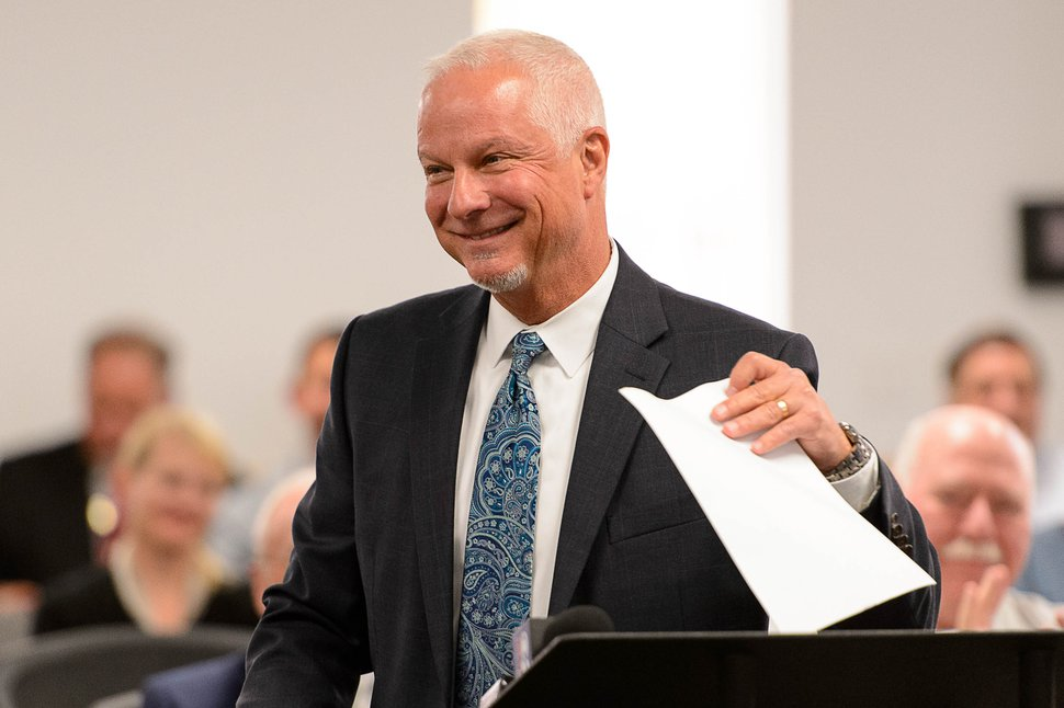 Trent Nelson | The Salt Lake Tribune Jerry Benson smiles after being sworn in as the new president/CEO of the Utah Transit Authority (UTA), Wednesday August 31, 2016.