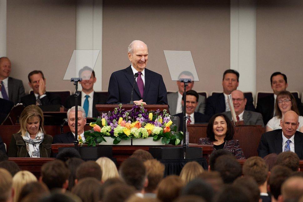 (Courtesy LDS Church) LDS Church President Russell M. Nelson addresses young adults at a fireside in Las Vegas on Feb. 17, 2018.