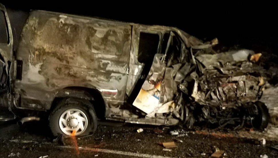 (Photo courtesy of the Utah Highway Patrol) Three people were killed when this van crossed the center line and struck their car head-on.