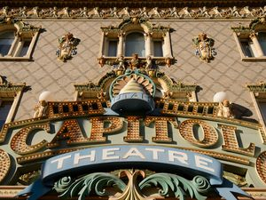 (Trent Nelson  |  The Salt Lake Tribune) The marquee of the Capitol Theatre in downtown Salt Lake City. The theater, home to Ballet West and Utah Opera, is one of four Salt Lake County-operated arts venues that will remain closed through Feb. 28, 2021, because of the COVID-19 pandemic.