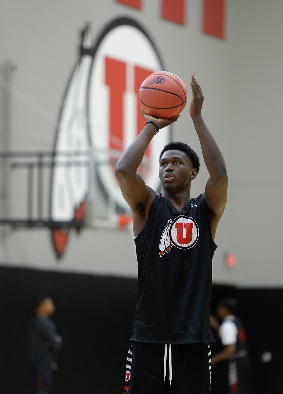 (Francisco Kjolseth | The Salt Lake Tribune) Donnie Tillman practices his shots as the Utah men's basketball program begins fall practices with a fairly new roster of players on Friday, Sept. 29, 2017.