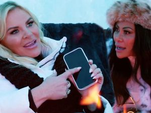 """(Bravo) Heather Gay, left, and Jen Shah try to repair their friendship in the Sept. 19 episode of """"The Real Housewives of Salt Lake City."""""""