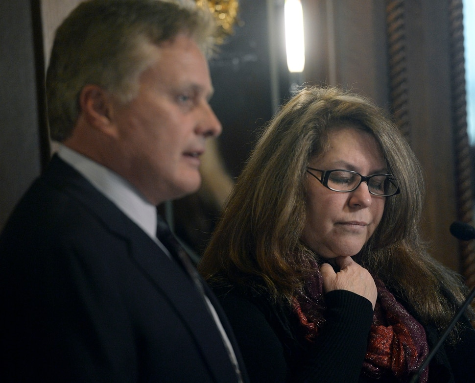 (Al Hartmann | The Salt Lake Tribune) Lawyer Tad Draper, left, is filing a federal lawsuit for Cindy Farnham-Stella over the death of her daughter, Heather Ashton Miller at the Davis County jail. Miller was arrested early Dec. 20, 2016, on charges related to possession of drug paraphernalia and heroin, held in the Davis County jail less than two days before suffering an injury to her spleen that led to her death in the McKay-Dee Hospital in Ogden.