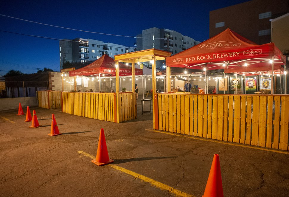 (Rick Egan   The Salt Lake Tribune) New outdoor patio seating at Red Rock Brewery's back parking lot, Thursday, Aug. 27, 2020. Utah restaurants are creating new outdoor dining options to accommodate customers during the coronavirus pandemic.