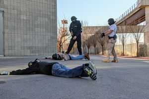 (Paighten Harkins | The Salt Lake Tribune) Police cadets participate in simulation training on Dec. 2, 2020, at the Peace Officer Standards and Training academy at the Salt Lake Community College Miller Campus in Sandy. Experts say improved training could be one way to reduce the number of police shootings.