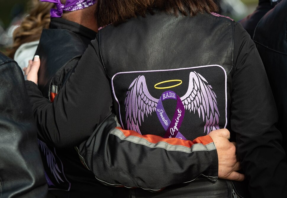 (Francisco Kjolseth | The Salt Lake Tribune) Bikers Against Domestic Violence show their support for the YWCA Utah as they gather at Liberty Park in Salt Lake City, on Saturday, Oct. 17, 2020, to recognize the thousands of individuals in Utah who are impacted by domestic violence each year for the Stop the Violence Utah campaign.
