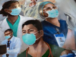 (Francisco Kjolseth  | The Salt Lake Tribune) Intermountain Healthcare unveiled new artwork by Utah artist Heather Olsen, to pay tribute to frontline health care workers during the COVID-19 pandemic, on Monday, April 5, 2021 in Murray.