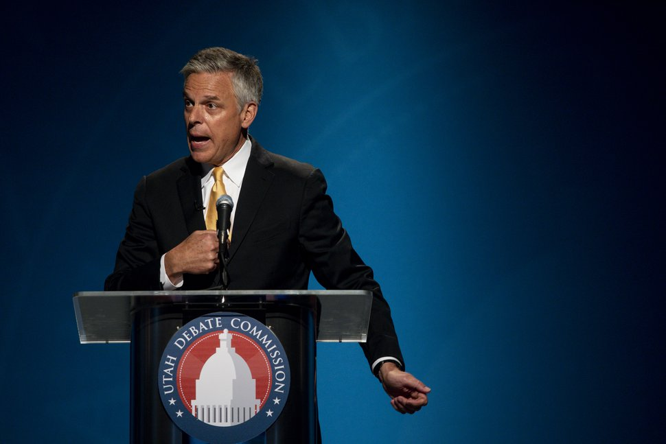 (Ivy Ceballo/Deseret News, via AP, pool photo) In this file photo from June 1, 2020, former Gov. Jon Huntsman, speaks during a Republican primary debate in Salt Lake City. He stepped down as U.S. ambassador to Russia under Donald Trump to return to Utah and make a run at reclaiming his seat.