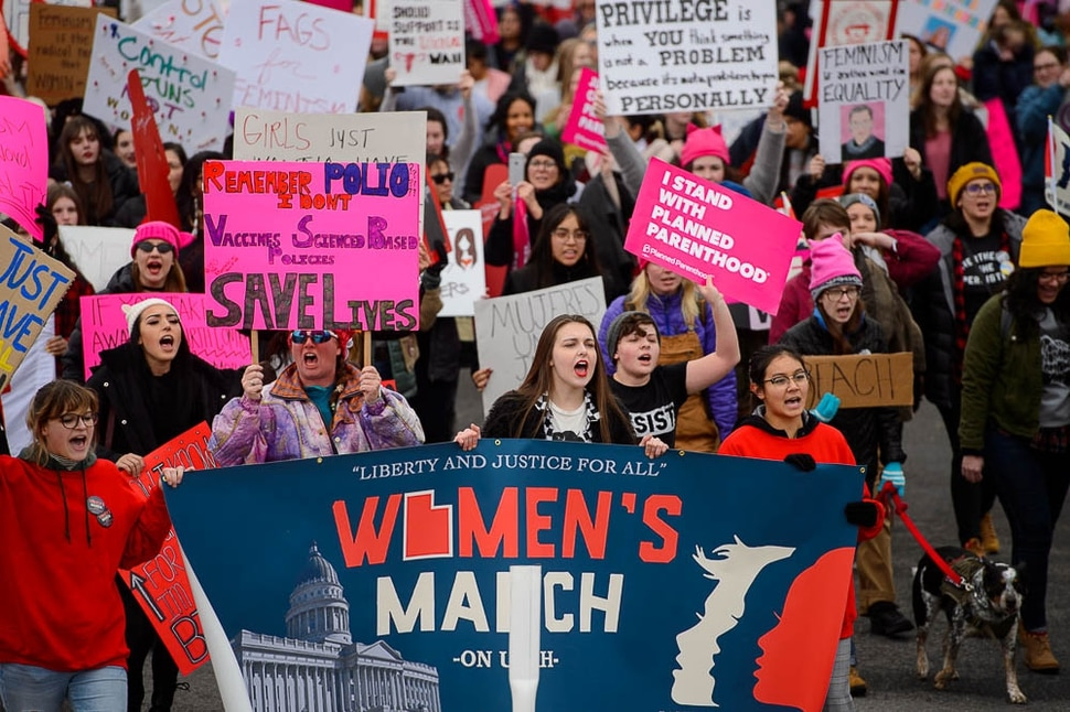 (Trent Nelson | The Salt Lake Tribune) The 2019 Women's March on Utah, sponsored by People for Unity, marches to the Utah Capitol in Salt Lake City on Saturday Jan. 19, 2019.