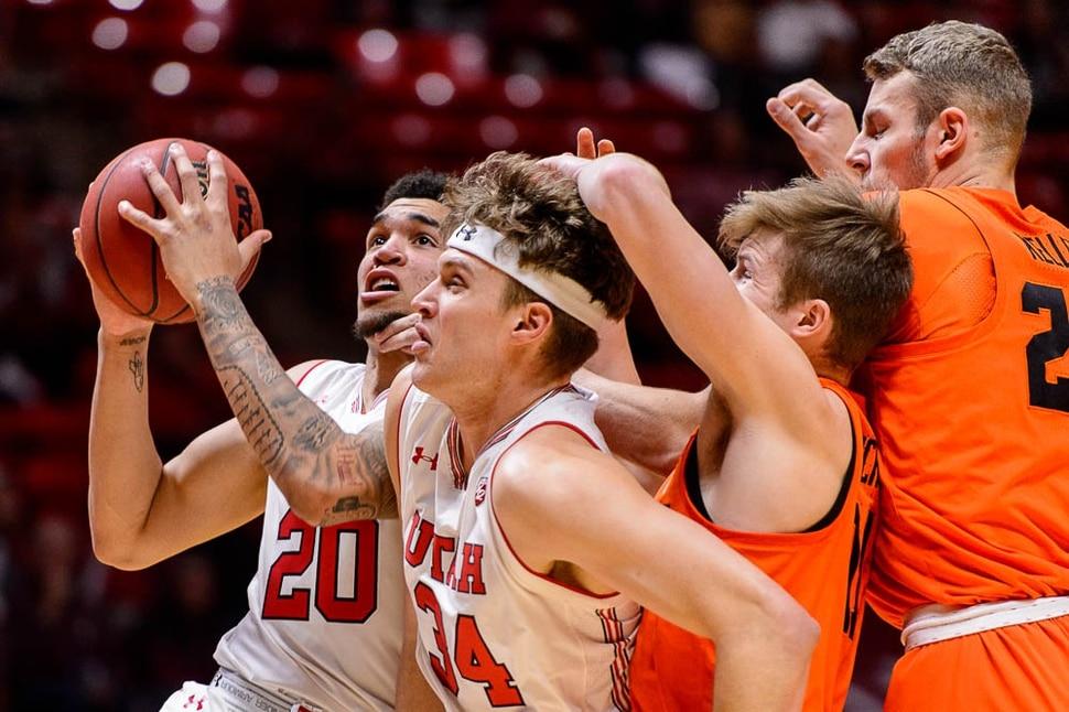(Trent Nelson | The Salt Lake Tribune) Utah Utes forward Timmy Allen (20) as Utah hosts Oregon State, NCAA basketball in Salt Lake City on Saturday Feb. 2, 2019.