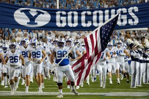 (Francisco Kjolseth   The Salt Lake Tribune) The Brigham Young Cougars get ready to take on the Arizona State Sun Devils at LaVell Edwards Stadium in Provo, on Saturday, Sept. 18, 2021.