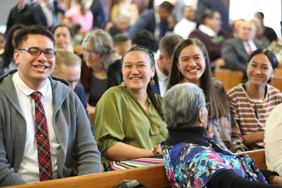 (Photo courtesy of The Church of Jesus Christ of Latter-day Saints) Members and friends of the church in Kaikohe, New Zealand. on Oct. 4, 2020.