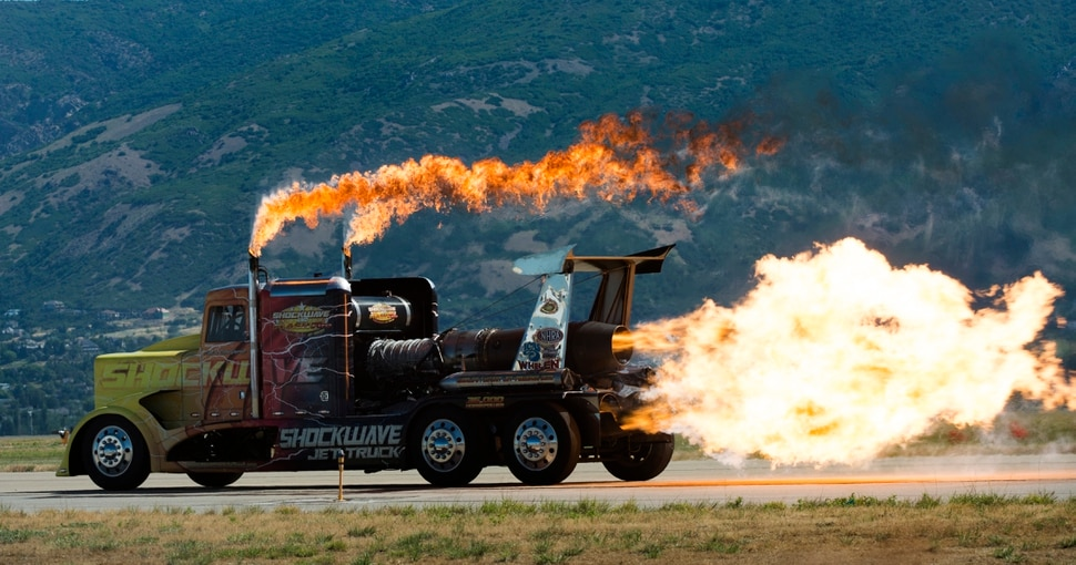 (Rick Egan | The Salt Lake Tribune) The Shockwave Jet Truck blasts down the runway at the Warriors Over the Wasatch airshow at Hill Airforce Base, Sunday, June 24, 2018.