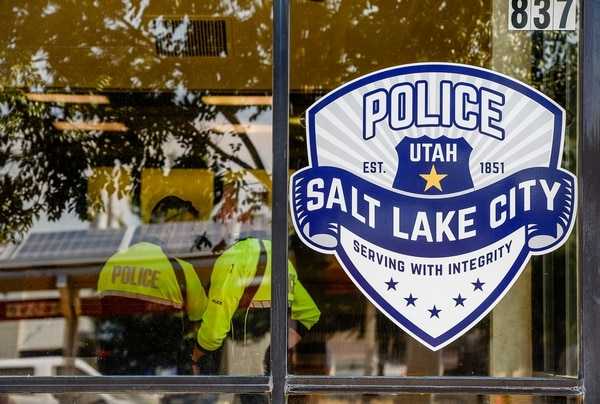 (Francisco Kjolseth | The Salt Lake Tribune) The Salt Lake City Police Department hosts an open house on Wed. July 25, 2018, for a new substation that used to be an Arctic Circle restaurant at 837 West, South Temple. Newly-assigned bike officers and a sergeant will work out of the new substation to better serve the community on the West side.