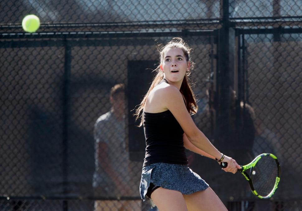 (Rick Egan | The Salt Lake Tribune) Daniella Aaron, Lone Peak, plays Mackenzie Turley, Davis High, in the 6A High School tennis championship game. Friday, October 6, 2017.