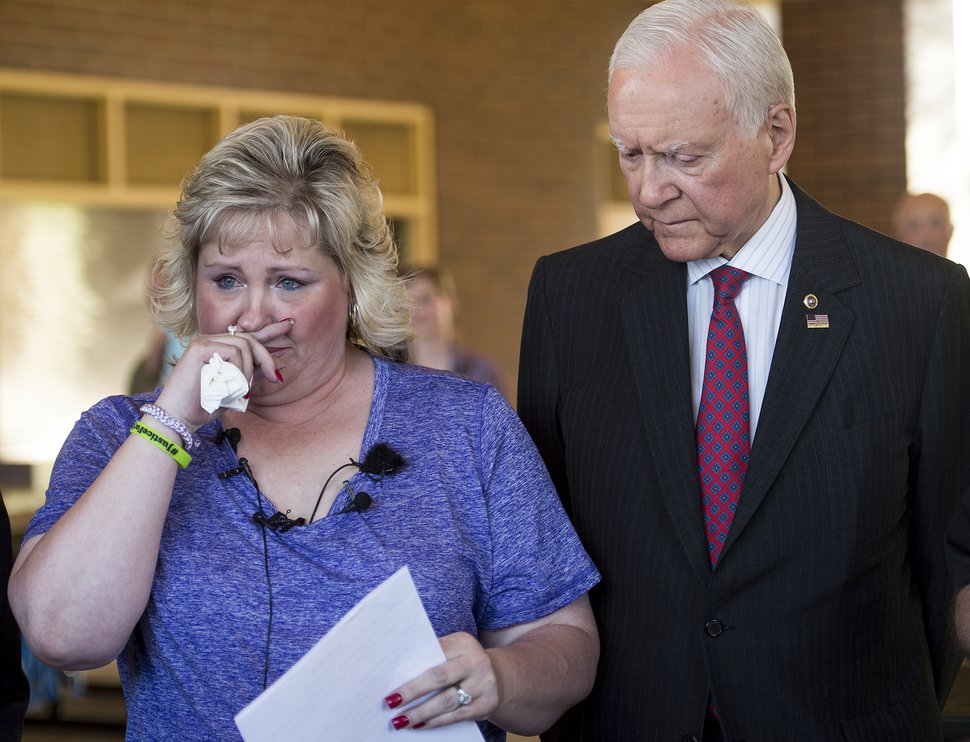 (Leah Hogsten | The Salt Lake Tribune) U.S. Senator Orrin Hatch stands with Laurie Holt as she gives an update on her son Josh Holt's condition at a news conference in 2017. Josh Holt has been in a Venezuelan prison since June 30, 2016.
