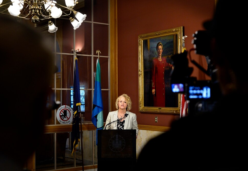 (Scott Sommerdorf | The Salt Lake Tribune) Salt Lake City Mayor Jackie Biskupski announces that findings have been made, and that they have been given to SLCPD Chief Mike Brown. He will now decide the fate of the two officers involved in the Nurse Wubbels arrest, Wednesday, September 13, 2017.