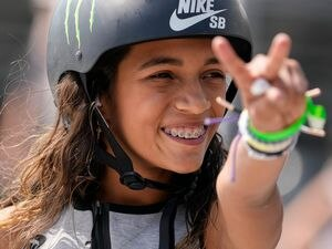 (Francisco Kjolseth | The Salt Lake Tribune) Rayssa Leal of Brazil acknowledges the crowd as she competes in Street League Skateboarding Championship Tour at the Utah State Fairpark in Salt Lake City on Saturday, Aug. 28, 2021.