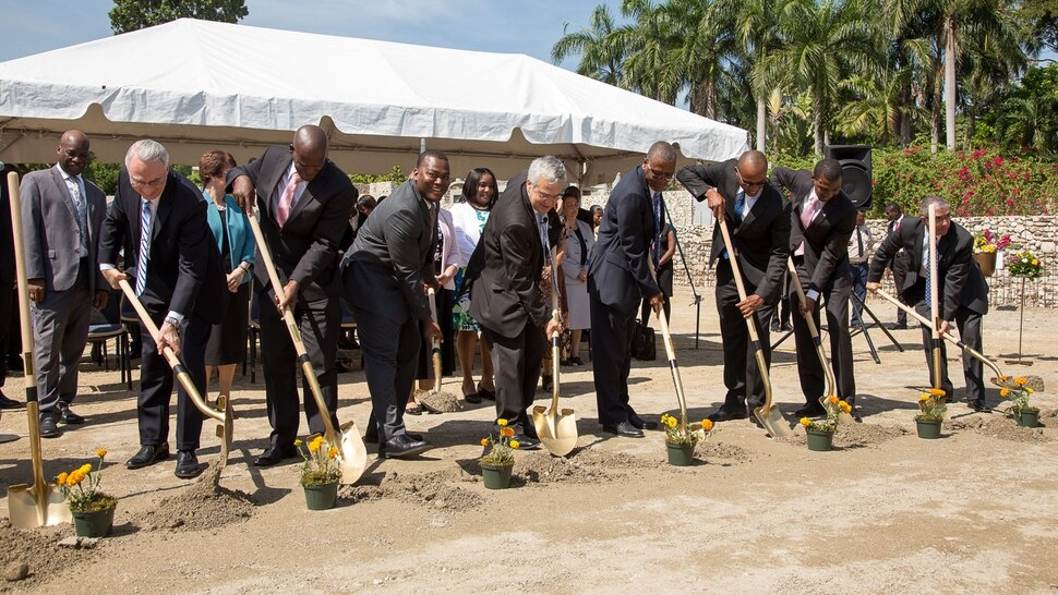 (Courtesy The Church of Jesus Christ of Latter-day Saints) Officials with The Church of Jesus Christ of Latter-day Saints broke ground on a temple in Port-au-Prince, Haiti, on Saturday.