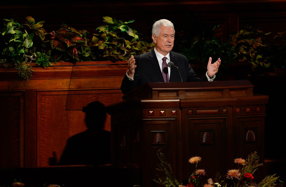 (Francisco Kjolseth | The Salt Lake Tribune) Elder Dieter F. Uchtdorf, of the Quorum of the Twelve Apostles speaks during the Sunday morning session of the 189th Semiannual General Conference of The Church of Jesus Christ of Latter-day Saints at the Conference Center in Salt Lake City on Sunday, Oct. 6, 2019.