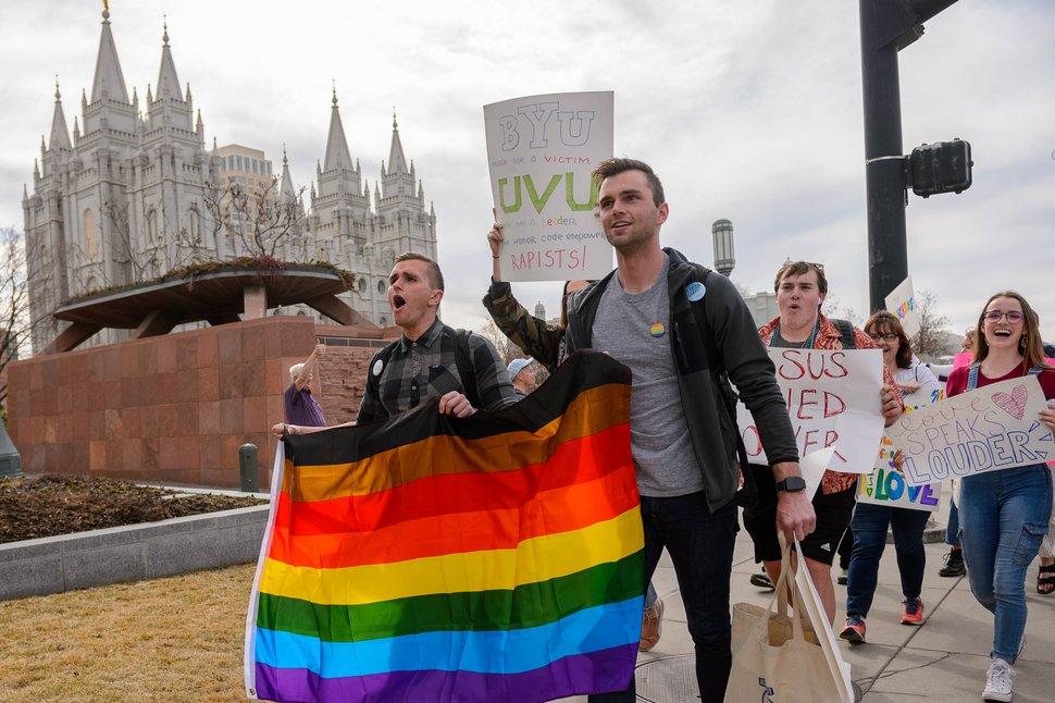 "(Trent Nelson | The Salt Lake Tribune) A demonstration about BYU's changing position on ""romantic behavior"" by same-sex couples, in Salt Lake City on Friday, March 6, 2020."