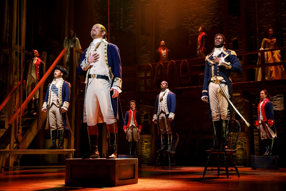 (Courtesy photo by Joan Marcus) Joseph Morales and Nik Walker play Alexander Hamilton and Aaron Burr in the Phillip tour of the Tony Award-winning hip-hop musical, Hamilton.