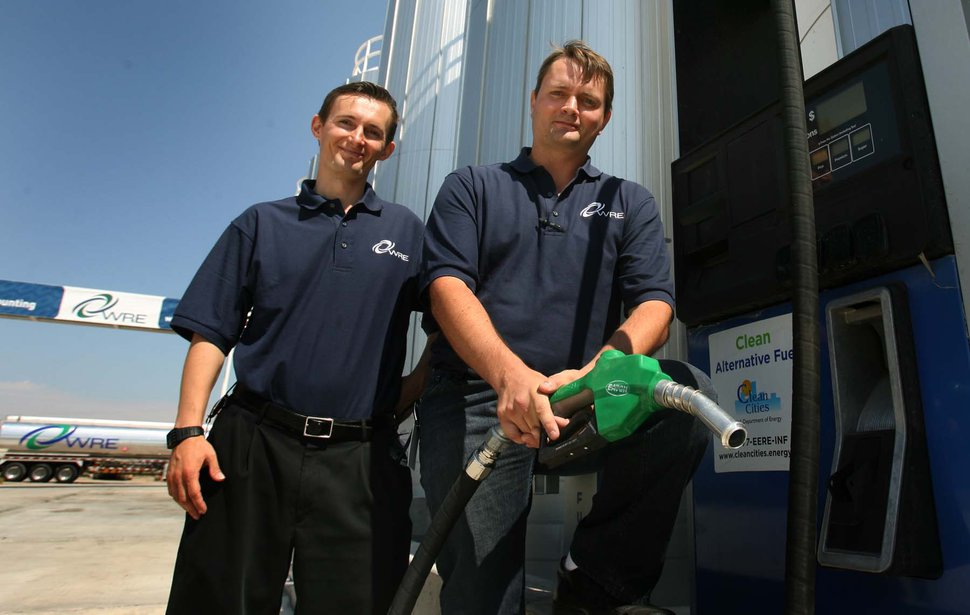 (Leah Hogsten | The Salt Lake Tribune) Kingston brothers Isaiah (left) and Jacob co-own WRE or Washakie Renewable Energy, which produces 10 milion gallons of biofuel. The largest biodiesel producer in Utah, Washakie held an open house in Plymouth on Thursday, Sept. 1, 2011, to showcase its new production facility.