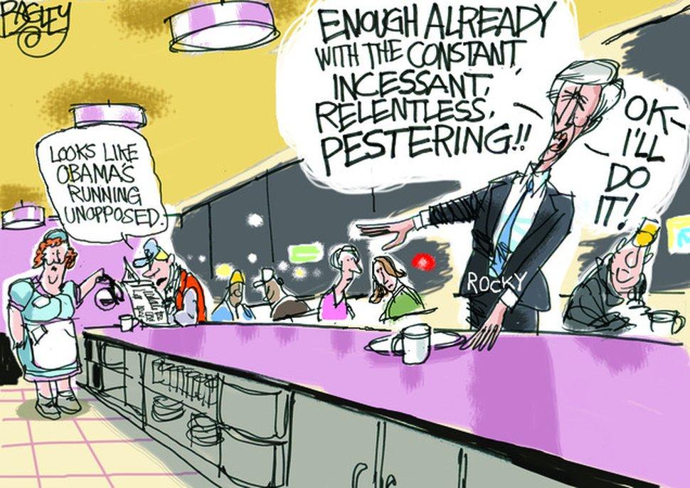 (Pat Bagley   The Salt Lake Tribune) A 2011 cartoon of former Salt Lake City Mayor Rocky Anderson, drawn by Salt Lake Tribune editorial cartoonist Pat Bagley.