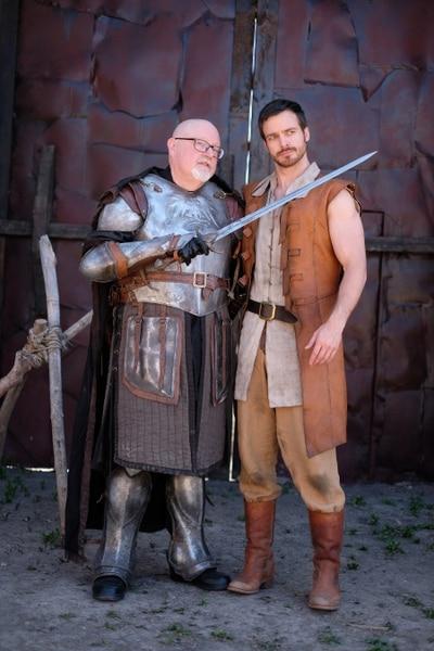 "(Photo courtesy Doug Pasko) Salt Lake Tribune TV critic Scott D. Pierce and ""Outpost"" star Jake Stormoen on the set of the show in Springville."