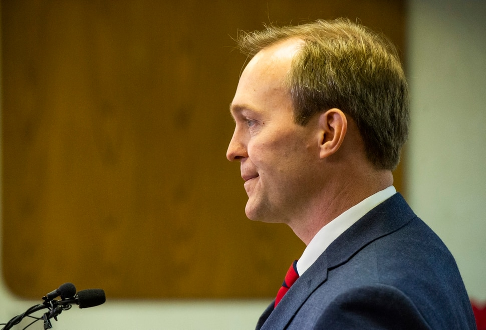 (Rick Egan | The Salt Lake Tribune) Ben McAdams announces during news conference at Murray City Hall, Monday, Dec. 16, 2019, that he will vote yes on the House impeachment vote.