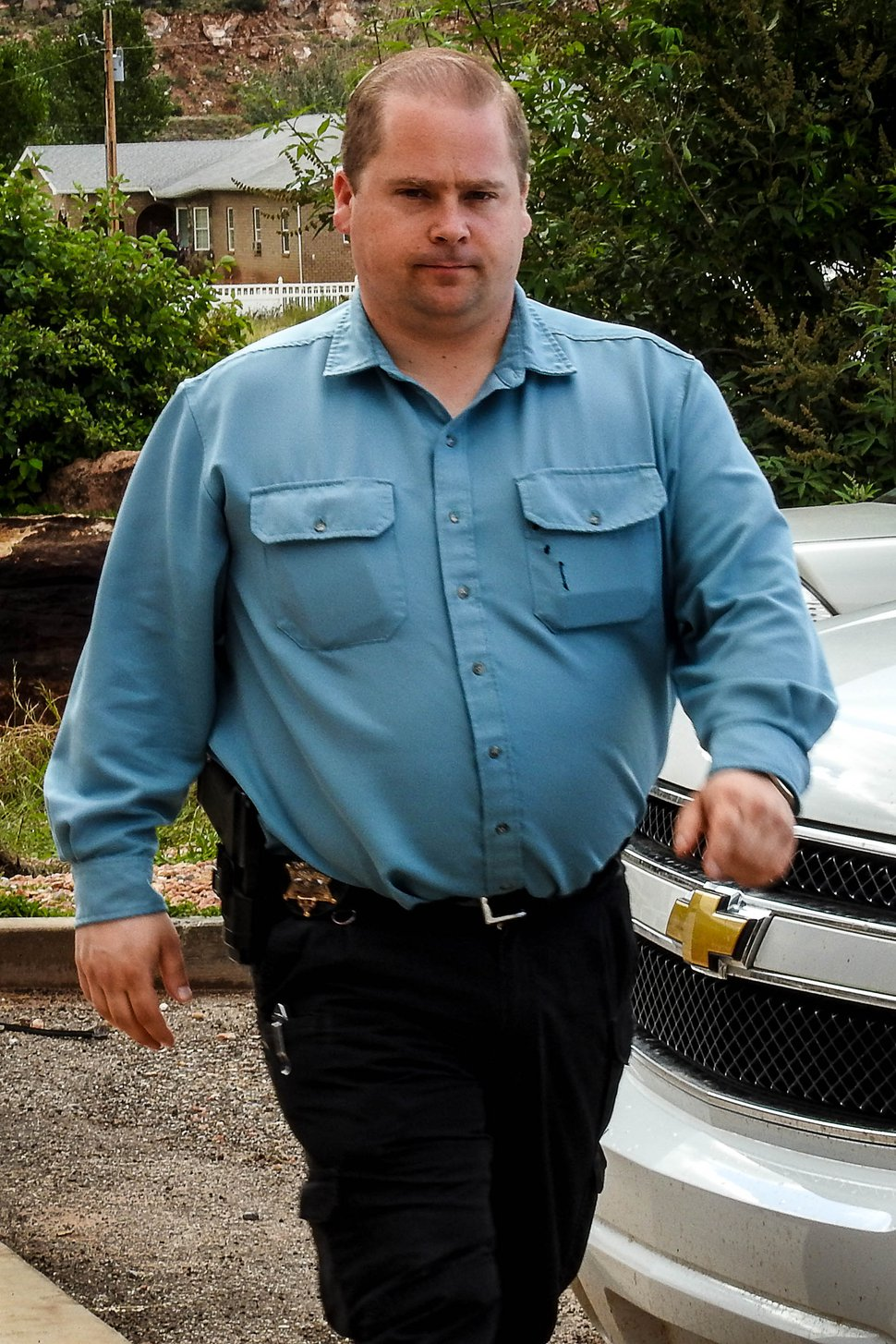 Trent Nelson | The Salt Lake Tribune Curtis Cook of the Colorado City/Hildale Marshals Office, in Hildale, Wednesday September 16, 2015.