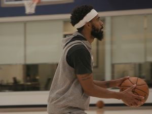 (Photo courtesy of Utah Jazz) Point guard Mike Conley takes part in a training camp practice on Thursday, Dec. 10, 2020.