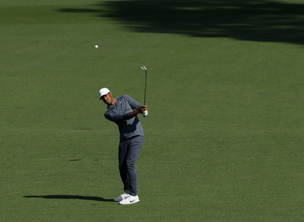 Tony Finau hits from the second fairway during the second round at the Masters golf tournament Friday, April 6, 2018, in Augusta, Ga. (AP Photo/Matt Slocum)