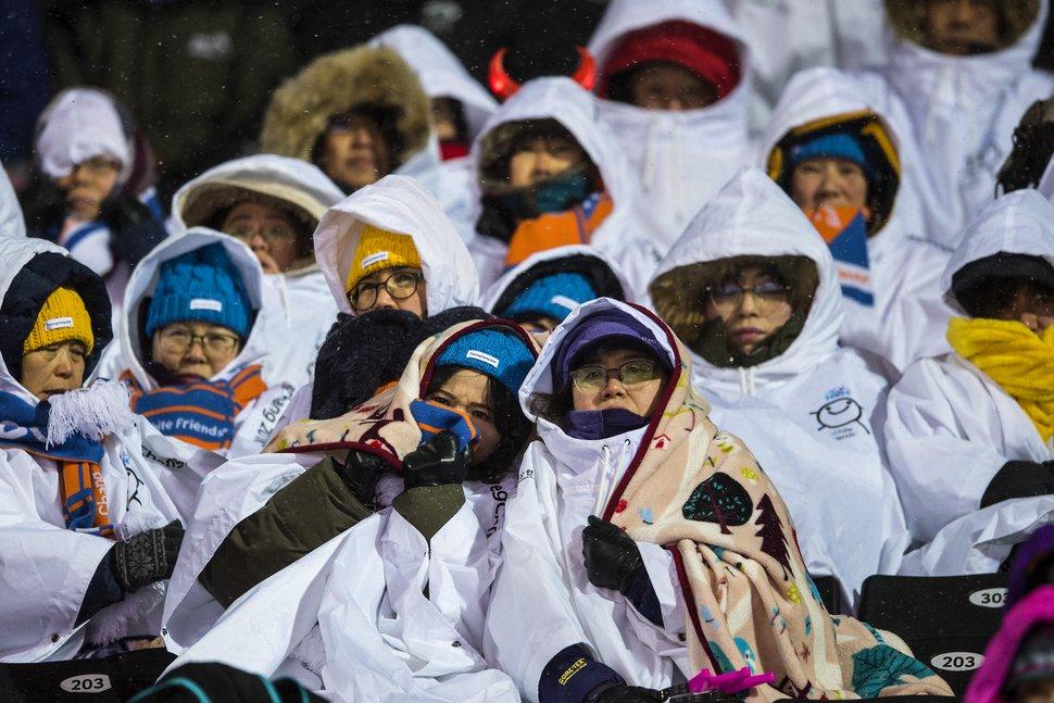 (Chris Detrick | The Salt Lake Tribune) Spectators watch the Ladies' Moguls Final at Phoenix Park during the Pyeongchang 2018 Winter Olympics Sunday, February 11, 2018.