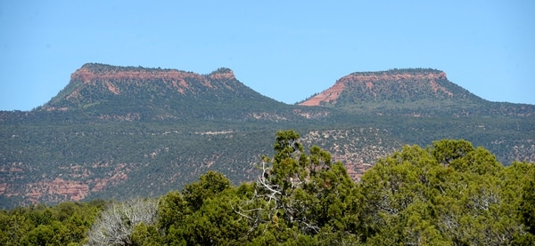 Al Hartmann | The Salt Lake Tribune Bears Ears buttes sit high over the surrounding canyon country in San Juan County. The formations are at the heart of the proposed Bears Ears National Monument.