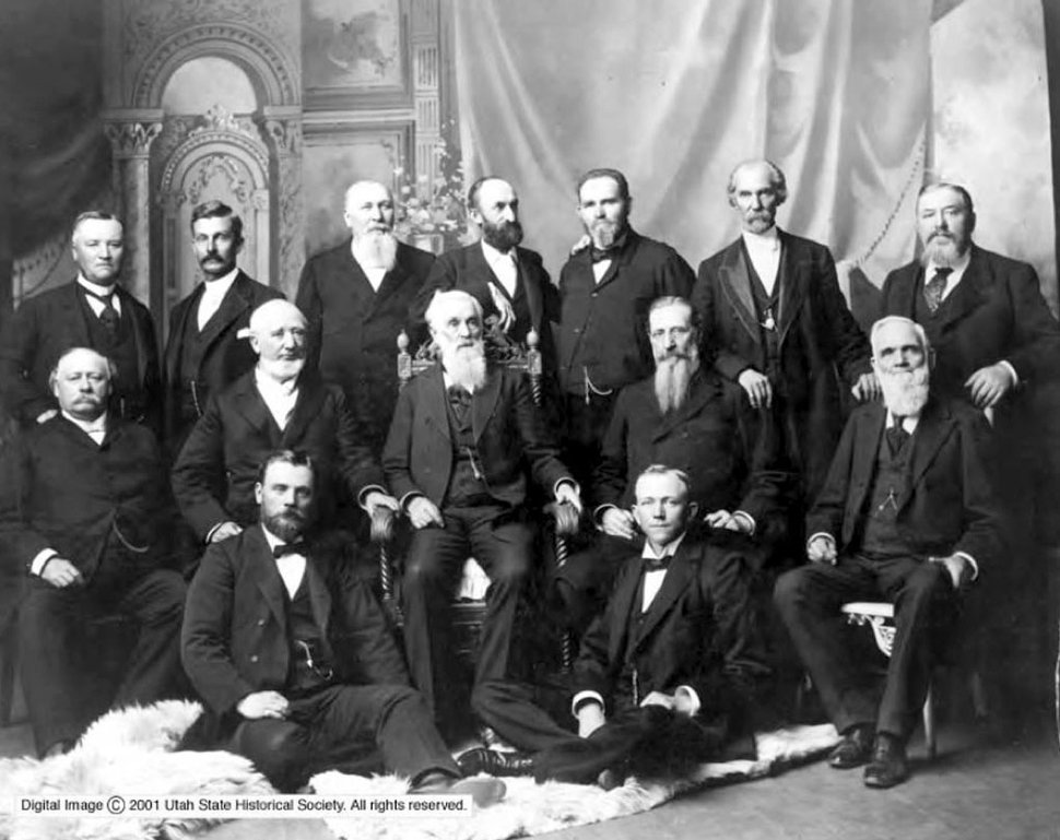 Courtesy | Utah Historical Society LDS Church General Authorities from 1898-1901. Back row, left to right: Anthon H. Lund, John W. Taylor, John Henry Smith, Heber J. Grant, Francis M. Lyamn, George Teasdale, Marriner W. Merrill. Second row: Brigham Young, Jr., George Q. Cannon, President Lorenzo Snow, Joseph F. Smith, and Franklin D. Richards. In front: Matthais Cowley and A. Owen Woodruff. Rudger Clawson is missing from this photo.