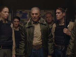 "(Photo courtesy of Orion Classics) Sheriff Hadley (Robert Forster, center) leads his deputies, including Julia Robson (Riki Lindhome, left) and John Marshall (Jim Cummings, right) as they pursue a killer,  in the filmed-in-Utah horror thriller ""The Wolf of Snow Hollow."""