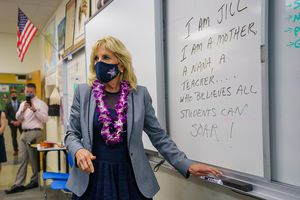 (Trent Nelson  |  The Salt Lake Tribune) First lady Jill Biden completes an assignment, writing a statement about herself, at Glendale Middle School in Salt Lake City on Wednesday, May 5, 2021.