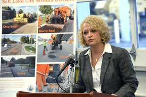(Al Hartmann  |  The Salt Lake Tribune)  Mayor Jackie Biskupski outlines next year's city budget at a press conference in Salt Lake City Monday April 30.  She requested more money for more more street repairs and maintenance and more police officers on the street.