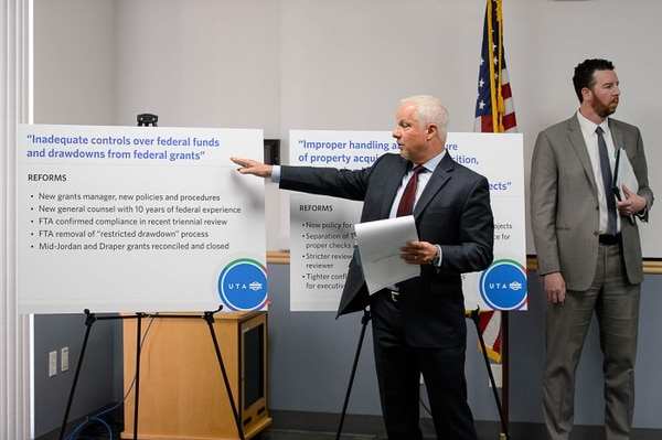 (Trent Nelson | Tribune file photo) Then-UTA CEO and President Jerry Benson speaks as Utah Transit Authority officials hold a news conference to discuss an ongoing federal investigation and reforms they have enacted, at UTA headquarters in Salt Lake City, Tuesday April 4, 2017. At right is then-UTA General Counsel Jayme Blakesley.