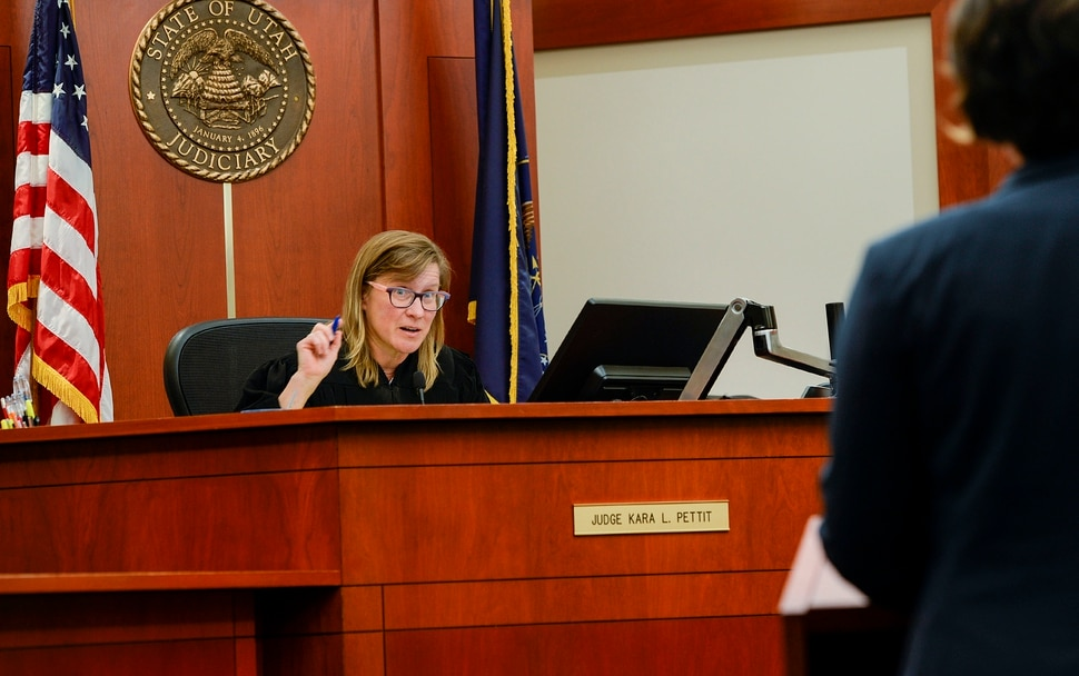 (Leah Hogsten | The Salt Lake Tribune) Judge Kara Pettit questions defense attorney Leah Farrell in her Third District Courtroom, Nov. 19, 2019. Defense attorneys Leah Farrell with the AmericanÊCivil Liberties UnionÊof Utah and Randy Richards argued on behalf of their plaintiff Tilli Buchanan that UtahÕs lewdness statute is unconstitutional because it discriminates against women. Buchanan is facing charges of lewdness involving a child after police say she took off her top while cleaning out the garage and her stepchildren saw her breasts. Judge Pettit is expected to rule in two months.
