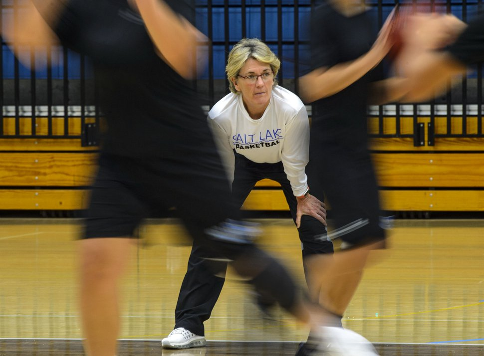 (Steve Griffin | The Salt Lake Tribune) SLCC women's basketball coach Betsy Specketer during practice on the campus in Taylorsville Monday November 27, 2017.