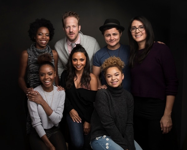 Actress Sasheer Zamata, from top left, David Sullivan, actor Arturo Castro, director Sydney Freeland, actress Ashleigh Murray, from bottom left, actress Danielle Nicolet and Rachel Crow pose for a portrait to promote the film,