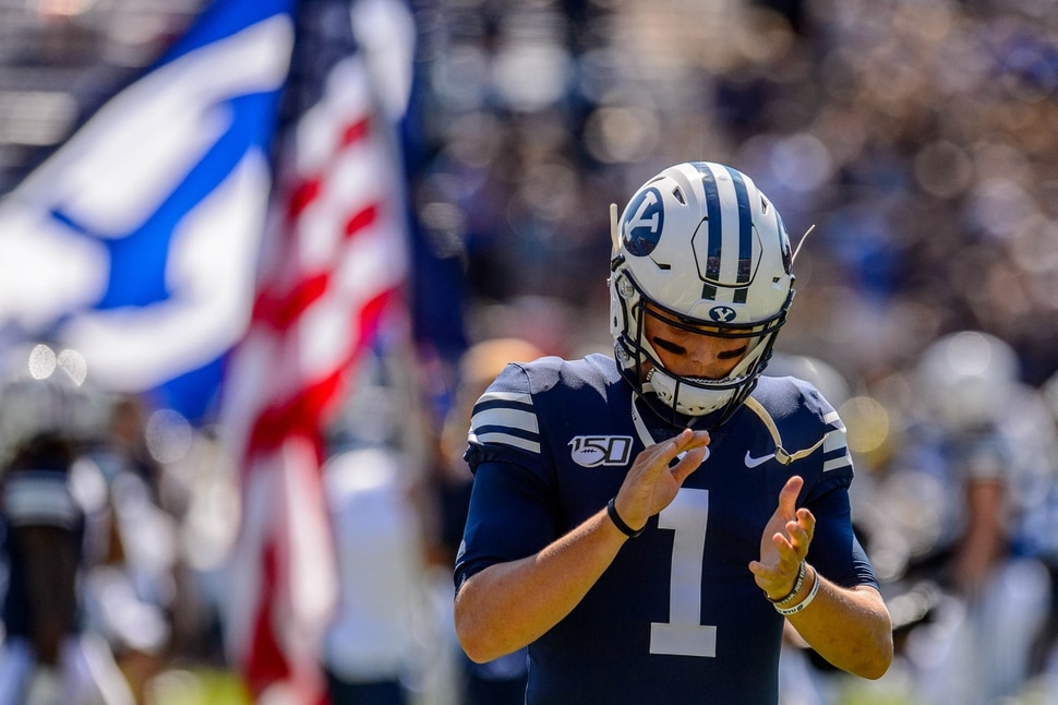 (Trent Nelson   The Salt Lake Tribune) Brigham Young Cougars quarterback Zach Wilson (1) as BYU hosts USC, NCAA football in Provo on Saturday Sept. 14, 2019.