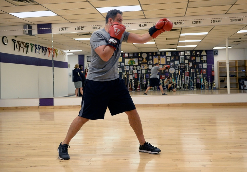 (Al Hartmann | The Salt Lake Tribune) House Speaker Greg Hughes practices his boxing form at the Flash Academy gym in Holladay Tuesday August 29. He's among a handful of local politicians, police and lobbyists who will box in a series of charity matches to benefit a national group that works to end domestic violence.